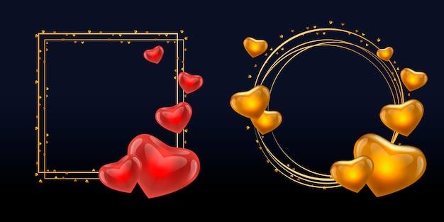 Quadro de amor com círculo de ouro corações