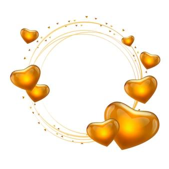 Quadro de amor com vetor de círculo de ouro de corações