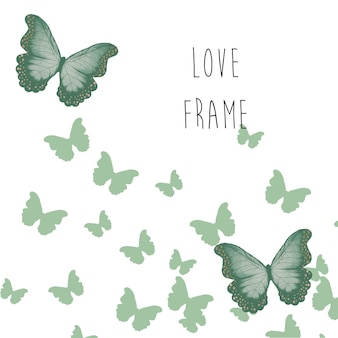 Quadro de amor e borboleta