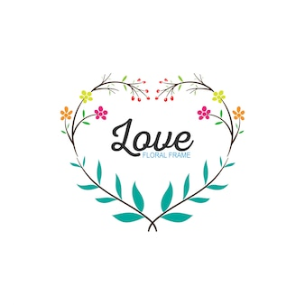 Quadro de amor floral grinalda de casamento simples