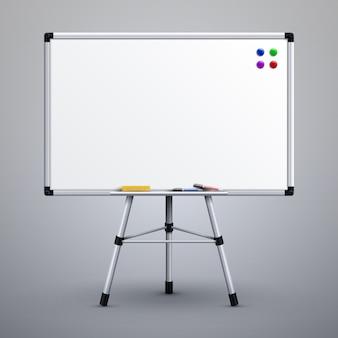 Quadro de apresentação do escritório no tripé. ilustração branca do vetor do noticeboard 3d da sala de aula vazia. quadro branco para apresentação em tripé