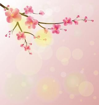 Quadro de aquarela sakura. fundo com ramos de cerejeira flor.