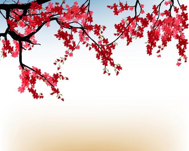 Quadro de aquarela sakura