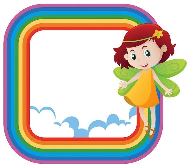 Quadro de arco-íris com fada fofo voando