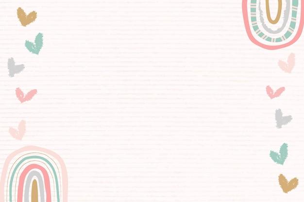 Quadro de arco-íris, vetor de borda de doodle fofo