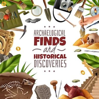 Quadro de arqueologia com composição redonda de artefatos de equipamentos de escavação e descobertas em torno de texto editável ornamentado
