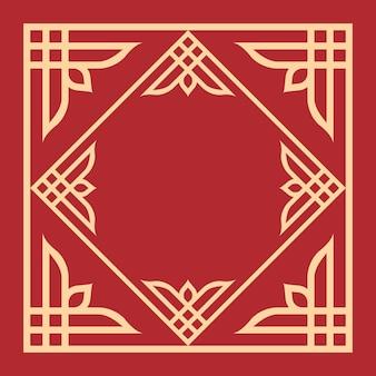 Quadro de arte com padrão floral decorativo em fundo vermelho