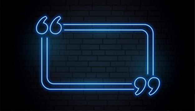 Quadro de aspas em azul néon com espaço de texto