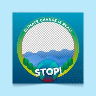Quadro de avatar de gradiente de mudança climática do facebook
