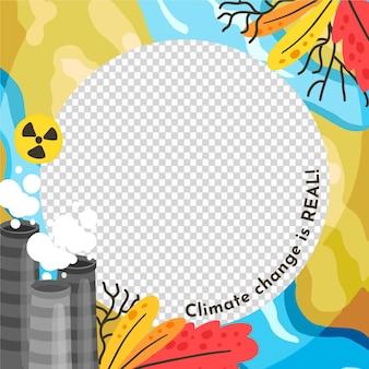 Quadro de avatar desenhado à mão sobre mudança climática no facebook