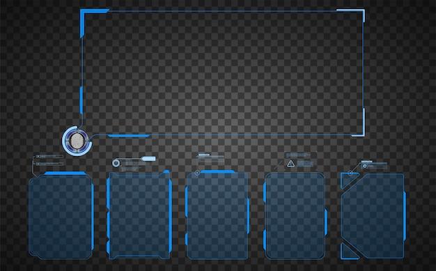 Quadro de aviso. conjunto de tecnologia abstrata de quadro no fundo moderno estilo hud. fundo abstrato do conceito da inovação de projeto de uma comunicação da tecnologia. design gráfico abstrato.