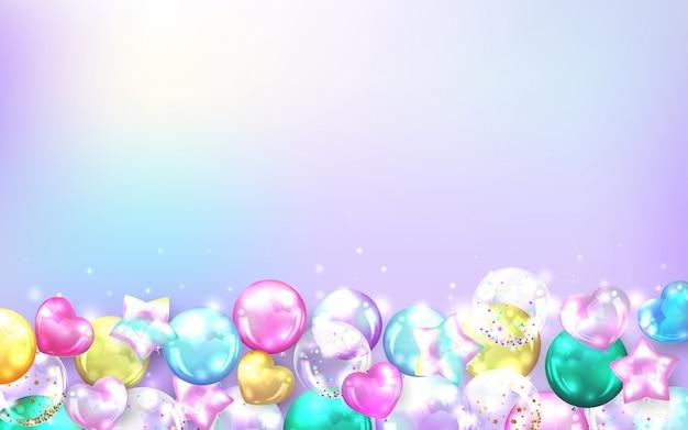 Quadro de balões coloridos sobre fundo pastel para cartão de aniversário e comemoração.