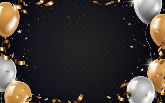 Quadro de balões e fitas com glitter dourado