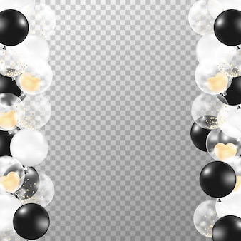 Quadro de balões preto e branco realista