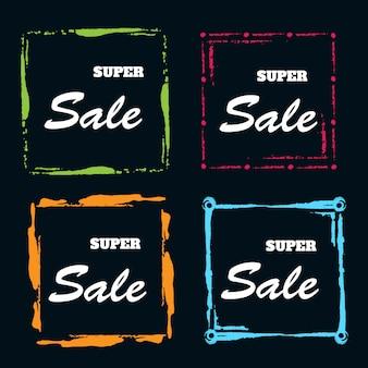 Quadro de banner de vendas em aquarela