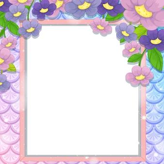 Quadro de banner em branco nas escamas de peixes arco-íris com muitas flores