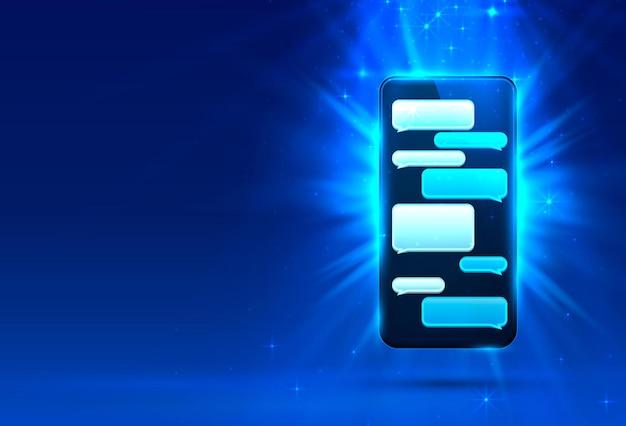 Quadro de bate-papo de mensagem de texto de telefone, tela social móvel.
