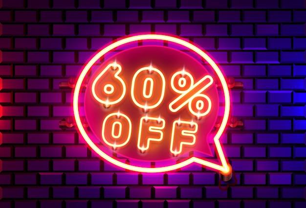 Quadro de bate-papo neon 60 fora do banner de texto. placa night sign.