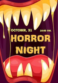 Quadro de boca de monstro de noite de terror de halloween com cartaz de convite para festa de doces ou travessuras