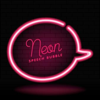 Quadro de bolha de discurso vazio em néon brilhante