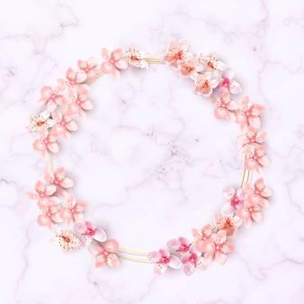 Quadro de borda de flores de cerejeira