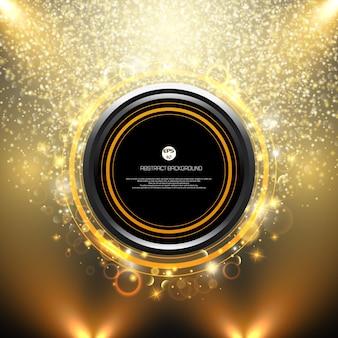 Quadro de brilho dourado grande preto do banner de voar de espaço de cópia
