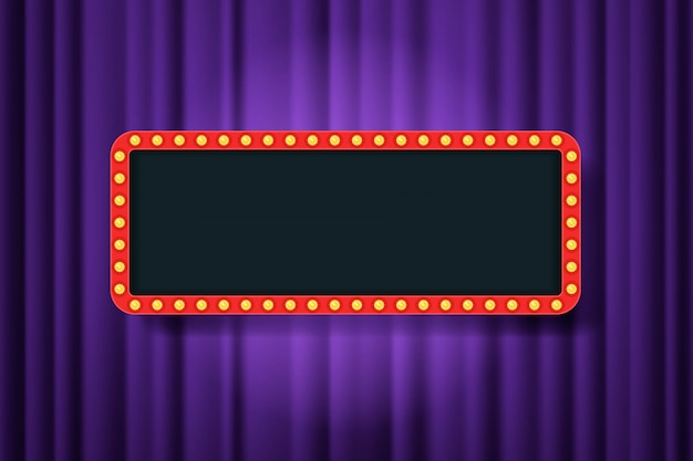 Quadro de bulbo com espaço vazio nas cortinas de teatro roxo