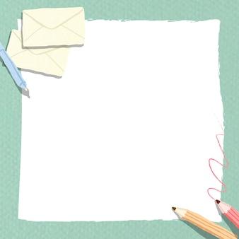 Quadro de caderno branco em branco sobre fundo verde