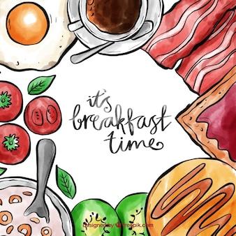 Quadro de café da manhã aquarela