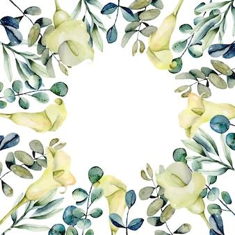 Quadro de callas brancas e eucalipto em aquarela