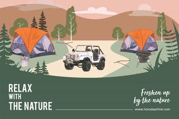 Quadro de campismo com ilustração de tenda, carro, panela, montanha e fogão.