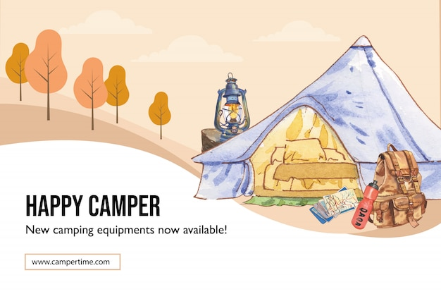Quadro de campismo com ilustração de tenda, mapa, mochila, lanterna e balão.