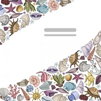 Quadro de canto de vetor com conchas