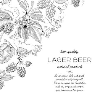 Quadro de canto hop scroll vinheta ornamento doodle com texto sobre ilustração de doodle desenhado à mão de cerveja lager