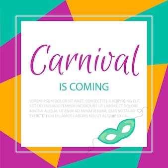 Quadro de carnaval colorido com modelo de texto. celebração do evento feliz aniversário. multicolorido. vetor.