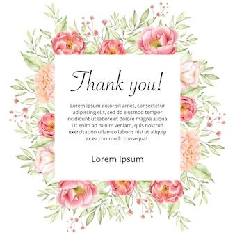 Quadro de cartão de agradecimento floral casamento aquarela