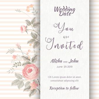 Quadro de cartão de convite de casamento moderno floral