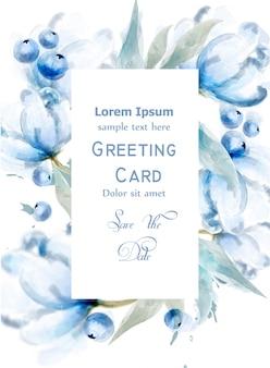 Quadro de cartão em aquarela de mirtilo e flores