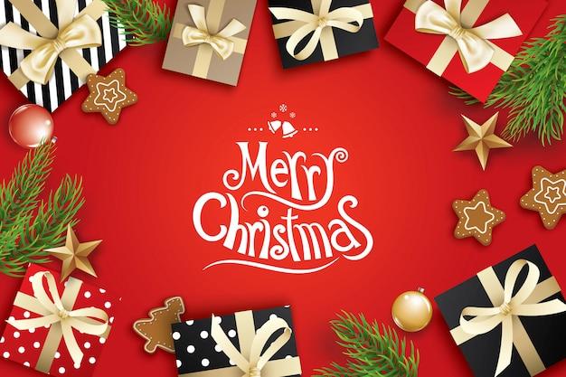 Quadro de cartão feliz natal em fundo vermelho