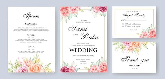 Quadro de cartão floral de casamento aquarela