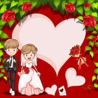 Quadro de casamento dos desenhos animados