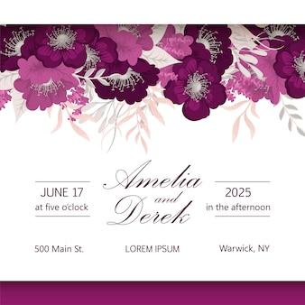 Quadro de casamento elegante design sazonal de flores escuras vector