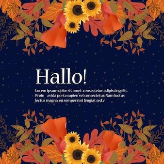 Quadro de casamento floral com flores de outono e folhas