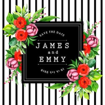 Quadro de casamento floral de listra preta