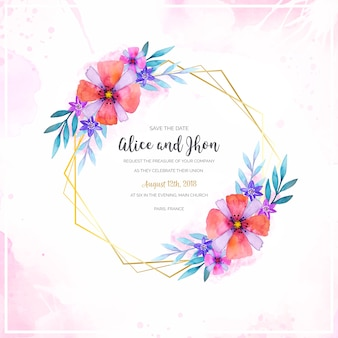 Quadro de casamento floral em aquarela