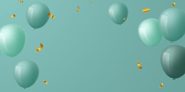 Quadro de celebração de balões verdes