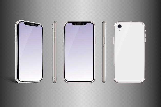 Quadro de celular com modelos isolados de exibição em branco