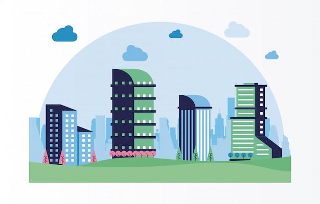 Quadro de cena da cidade mínima paisagem urbana
