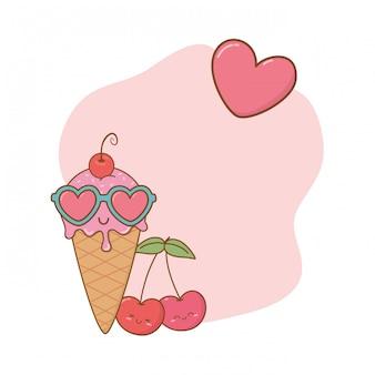 Quadro de cerejas e óculos de sol de sorvete
