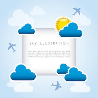 Quadro de céu sobre ilustração vetorial de fundo azul